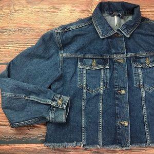 Free People | cropped frayed denim jean jacket